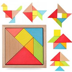 Joc educativ – Tangram din lemn cu 7 piese si 60 carduri Tangram Puzzles, Wooden Jigsaw Puzzles, Puzzles Für Kinder, Puzzles For Kids, Fun Games For Kids, Activities For Kids, Children Games, Kids Toys, Ricky Y Morty