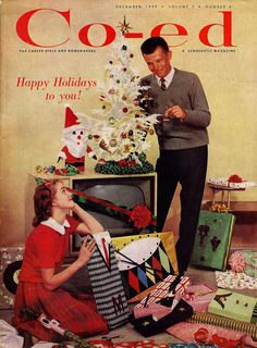 Vintage 1959 Co-ed Magazine cover featuring Christmas wrapping which takes my breath away!