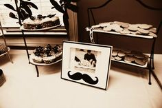 Food Table Decor with Mustache Cupcakes and Mustache Cookies