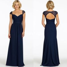 Custom Made 2015 Dark Navy Bridesmaid Dresses Cheap Chiffon Sweetheart Cap Sleeve Backless A-Line Vintage Evening Dress Long Party Prom Gown