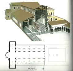Plan and Reconstruction Drawing, Old St. Peter's Basilica - begun by Emperor Constantine I - century AD Byzantine Architecture, Religious Architecture, Ancient Architecture, Art And Architecture, Interior Design History, Interior Design Resources, St Peters Cathedral, 3 Bedroom Bungalow, Byzantine Art