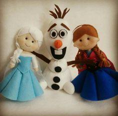Anna, Elsa e Olaf em feltro