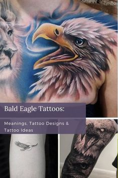 Bald eagles can symbolize many different things for many different communities. Some see them as a sign of strength, while others view them as a spiritual guide. No matter what drew you to the bald eagle, any of these powerful meanings will add additional significance to your majestic bald eagle tattoo. Black And Grey Tattoos Sleeve, Girls With Sleeve Tattoos, Best Sleeve Tattoos, Girl Tattoos, Unique Tattoos For Women, Cool Tattoos For Guys, Cool Small Tattoos, Bald Eagle Tattoos, Single Needle Tattoo