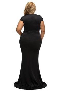 1f4e6a309eb3 BIG n BEAUTIFUL Elegant Black Rhinestone Front Bodice Plus Size Dress