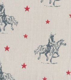 Vintage Cowboys fabric, Storm Blue & Red on Cream - Peony & Sage