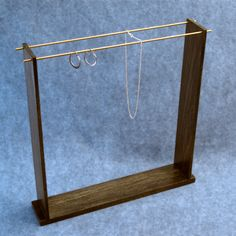 Wood Brass Jewelry Earring Pendant Display Holder - Handcrafted, Medium size. $137.00, via Etsy.