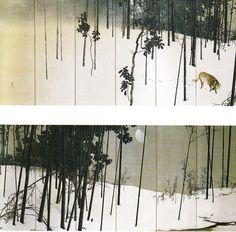 Wintry Moon by Konoshima Okoku (Nihonga) #Okoku #Japan #art #nihonga #painting #ohkoku