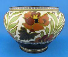 Large Art Deco GOUDA Plazuid Atrium Bulbous Pottery Planter. Floral Decor c.1928