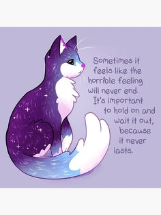 """""""""""The Horrible Feeling Never Lasts"""" Night Sky Cat"""" Photographic Print by thelatestkate Inspirational Animal Quotes, Cute Animal Quotes, Cute Quotes, Girl Quotes, Cute Animals, Cute Animal Drawings, Cute Drawings, Empathy Quotes, Monday Morning Quotes"""