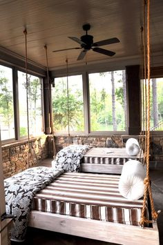 In love with this sleeping porch!