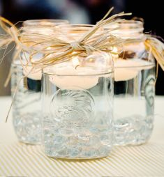Simple DIY idea for your wedding decoration | Project by InYourFavor.id http://www.bridestory.com/inyourfavorid/projects/scented-candles-jarsglassescans-your-favor