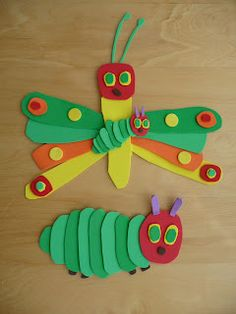 Eric Carle Caterpillar Crafts, we just made these with foam pieces glued onto cardboard. Easy and cute!
