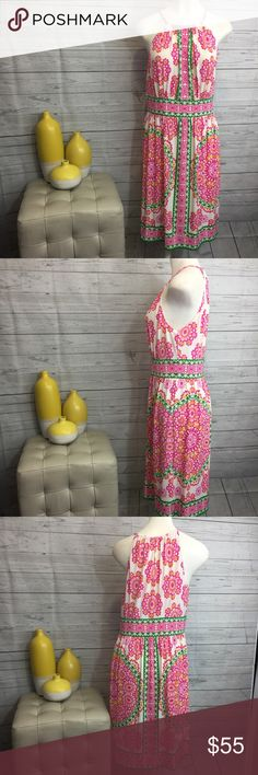 """London Times 10 dress halter style pink green NWT London Times size 10 dress, halter style, one button closure in back, non lined, except waistline, lightweight. Pink, green, ivory, floral. 95% Polyester 5% Spandex Lining 100% Polyester. Bust 18 1/4"""" armpit to armpit Waist 15 1/2"""" side to side Hips 23"""" side to side Length 36"""" shoulder to hem. Measurements are approximate. London Times Dresses"""