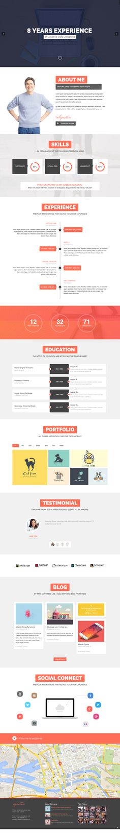 ResumeX is a elegant one page portfolio for creative professionals. ResumeX can be used to showcase their personal resume, work history, projects and other Graphisches Design, Best Web Design, Web Design Company, Online Portfolio Design, Portfolio Site, Site Inspiration, Ui Web, Web Layout, Premium Wordpress Themes