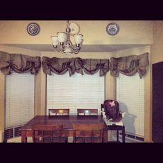 burlap valances for kitchen | Burlap coffee sacks as curtains in my kitchen | Around the Casa