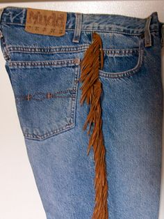 Vintage, high waisted, jeans, cowgirl, fringe, suede fringe,Southwest clothing, western style, refashioned, rodeo, women's jeans
