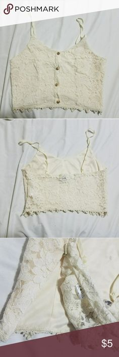 Paper Crane Lace Midriff 4 gold button cream lace midriff, see through back, side zipper Paper Crane Tops Crop Tops