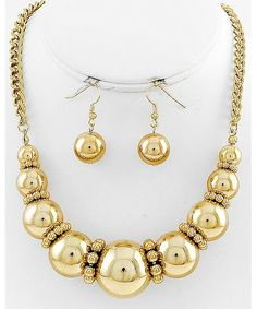 439898 Gold Tone / Gold Ccb (bead) / Lead&nickel Compliant / Graduating / Necklace & Fish Hook Earring Set