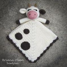 Cow Lovey CROCHET PATTERN instant download - blankey, blankie, security blanket by gaynorm