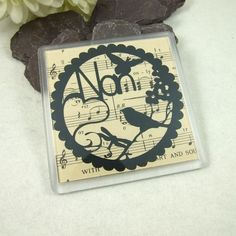 Coaster, Personalised Papercut Nan, with Vintage Music Paper. Free UK Postage £3.70