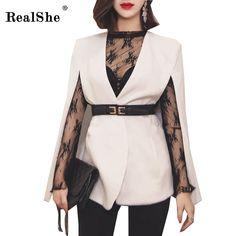 RealShe New Arrival Women Cape Blazer Fashion White Black V Neck Sashes Elegant Top 2017 Women Work Wear Fall Short Blazer -in Blazers from Women's Clothing & Accessories on Aliexpress.com | Alibaba Group