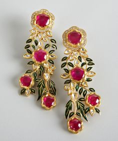 Amrapali diamond and ruby gold floral cascade earrings | BLUEFLY