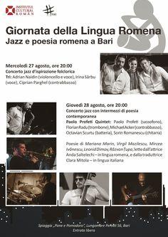 Lingua Romena. Jazz e poesia romena a Bari nel Giorno del legame storico tra Italia e Romania | Cinquew News