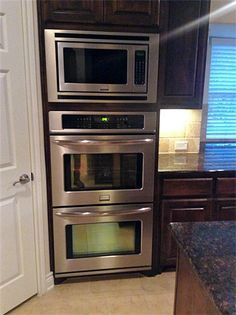Great Bake Wall With Microwave Above Double Oven For