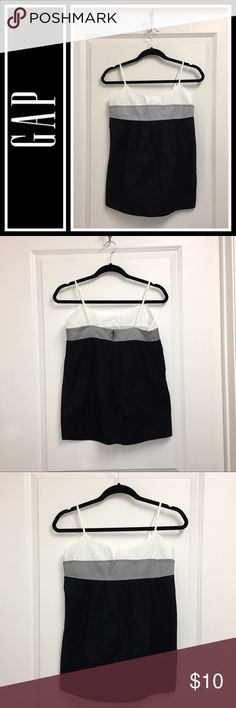 GAP Color block baby doll Cami EUC, no flaws - black white and grey color block tank top from the gap - 100% cotton, feels like a light almost linen so perfect for summer! Totally my style so I would keep if it fit me but I'm not an XS...Prob ok for small or x small GAP Tops Tank Tops