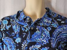 POLO RALPH LAUREN Polo Knit Shirt Sz XXL Blue Paisley Print NEW #PoloRalphLauren #PoloRugby