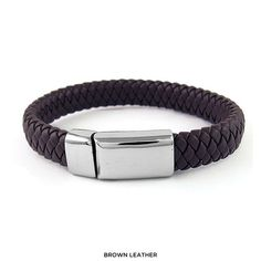 Men's Woven Genuine Leather & Stainless Steel Bracelet - Assorted Styles at 90% Savings off Retail!