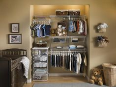 Wire drawers are a versatile addition to a boy's closet, useful for storing socks, folded garments or toys.