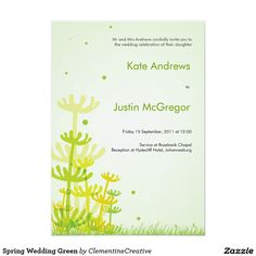 Spring Wedding Green 5x7 Paper Invitation Card