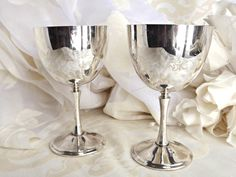 Silver Plated Wine Goblets Wedding Decor Vintage Table Elegant Dining By Aged