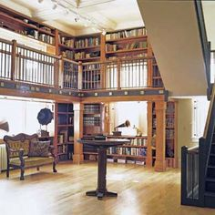 "former post office remodeled into private home, to include a two-story library modeled after Henry Higgins library from the 1964 film ""My Fair Lady."" read whole story from #ThisOldHouse"