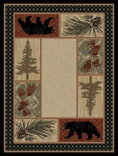 The Pine Forest Bear rug is a lodge rug with a forest theme. The black bear and pine trees are combined with pinecones and bear tracks for a true, lodge look. The warm coloration and block style pattern highlight each image and allow you to bring this rug into any room.