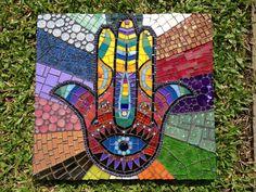 Mosaic color,mosaic hamsa, mosaico com pastilhas, olho grego, hamsa by Schandra Julia