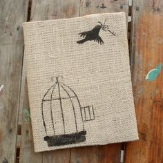 Free to Fly -  Burlap Feed Sack Journal Cover w. Notebook. $15.00, via Etsy.
