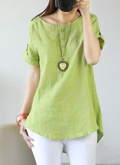 Solid Casual Cotton Linen Round Neckline Short Sleeve Blouses
