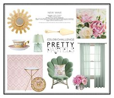 """PRETTY PASTELS"" by gizaboudib ❤ liked on Polyvore featuring interior, interiors, interior design, home, home decor, interior decorating, Pier 1 Imports, Worlds Away, Versace and Safavieh"