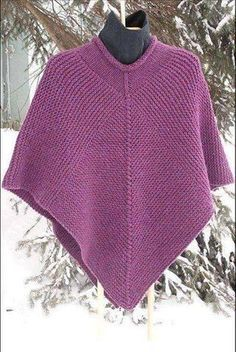 Knitting Pattern for Easy 50 x 50 Poncho - Garter stitch poncho that's as easy as counting to diamond panels with 50 stitches on each side and 50 decreases with side panels of 50 stitches times 50 ridges. Designed by CabinFeverSistersThis 50 x 50 Poncho Poncho Knitting Patterns, Crochet Poncho, Easy Knitting, Knit Or Crochet, Knitting Stitches, Knit Patterns, Crochet Vests, Knit Shrug, Crochet Edgings