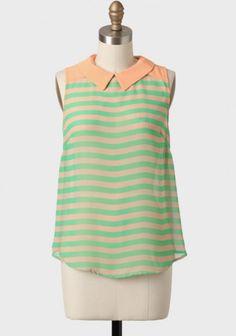 Forest Glen Striped Blouse In Green | Modern Vintage Tops | Modern Vintage Clothing