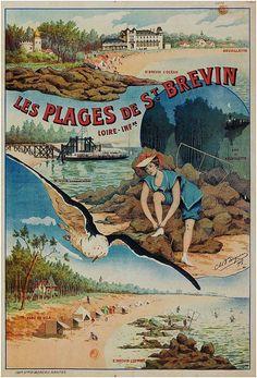✨ Ch. B. Bergman (?) - Les Plages de St. Brévin. Loire-Infre. Neuvillette, St Brévin l'océan, bois de Neuvillette, Saint-Brevin-les-Pins, 1908. Imp. P. Moreau, Nantes [Charles Bergman ?]