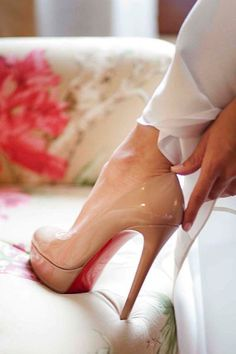 Christian Louboutin, Bianca Patent Leather Platform Pump, Nude