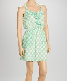 Love this Mint Polka Dot Lace Sleeveless Dress by Speechless on #zulily! #zulilyfinds