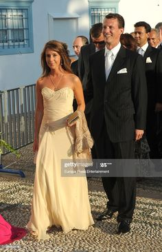 Princess Marie of Denmark and Prince Joachim of Denmark arrive to attend the wedding of Tatiana Blatnik with Prince Nikolaos of Greece at the Cathedral of Ayios Nikolaos (St. Nicholas) on August 25, 2010 in Spetses, Greece. (Photo by Europa Press/Europa Press via Getty Images) Strapless Dress Formal, Prom Dresses, Formal Dresses, Princess Marie Of Denmark, August 25, Royal Fashion, Royals, Cathedral, Crown