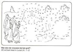 wat zien de vrouwen bij het graf, een engel van stip naar stip