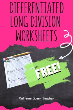 Grab these differentiated long division worksheets for FREE and dramatically boost student success and your teaching success! Teaching Long Division, Long Division Worksheets, Math Division, Math Fractions, Dividing Fractions, Equivalent Fractions, Maths, Learning Multiplication, Elementary Math