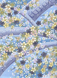 Effusion of Cherry Blossoms: Blue Asian Japanese Quilt Fabric - 1/2 Yd.     eBay
