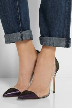 Gianvito Rossi Metallic suede and PVC pumpsoutfit